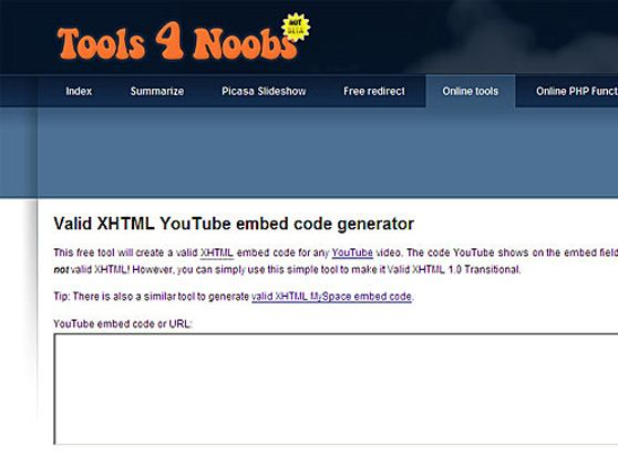Valid XHTML YouTube embed code generator